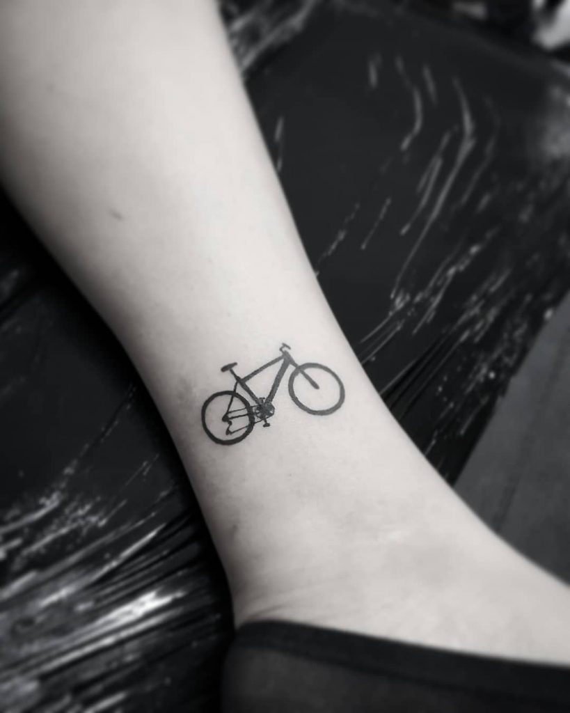 ankle bike tattoo