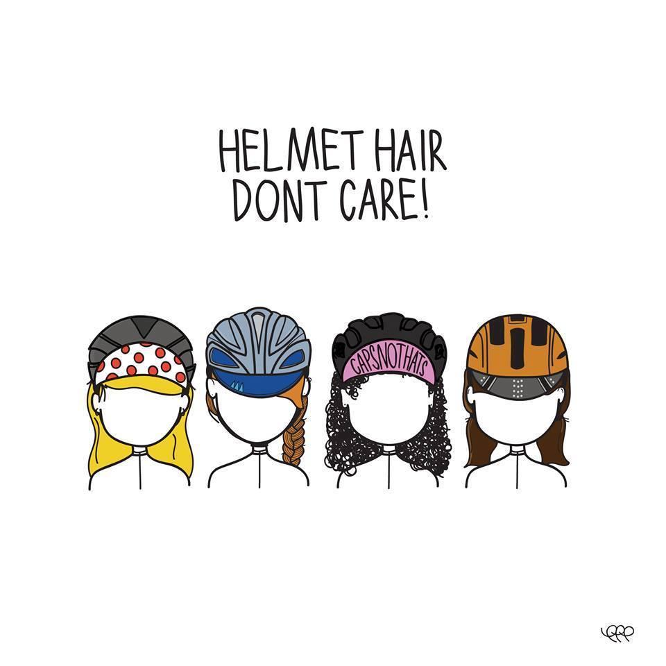 helmet hair, don't care