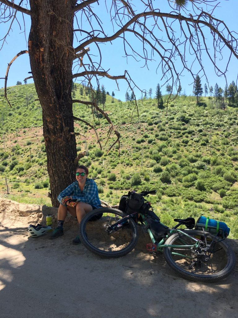 Taking a break in the shade between Prairie, Idaho and Anderson Ranch Reservoir.
