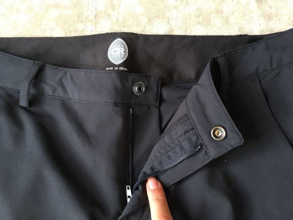 club ride pants snap and zipper